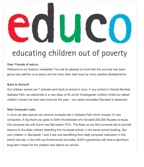 Educo Ireland newsletter